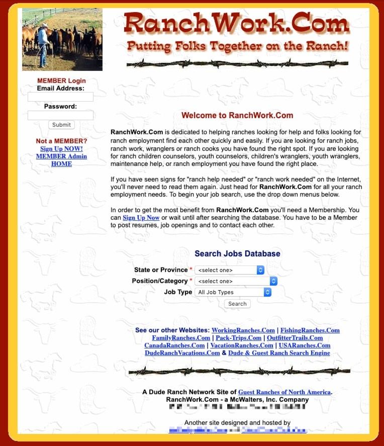 early RanchWork.com website