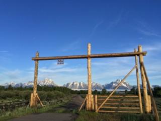 Moose Head Ranch Entrance - Grand Teton Mountain Backdrop