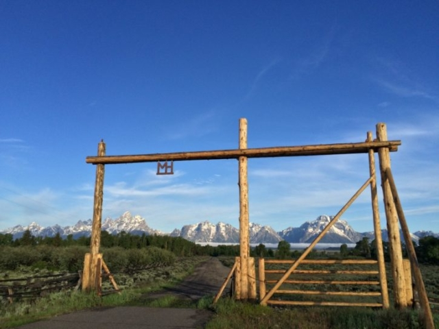 Moose Head Ranch Entrance - Grand Teton Mountain Backdrop