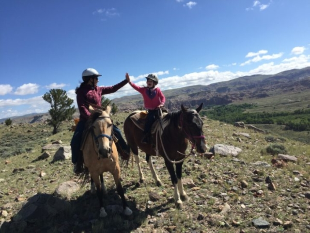 Sara & Sloane High Five at CM Ranch WY