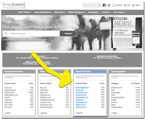 Snapnames Dropping Domain Names